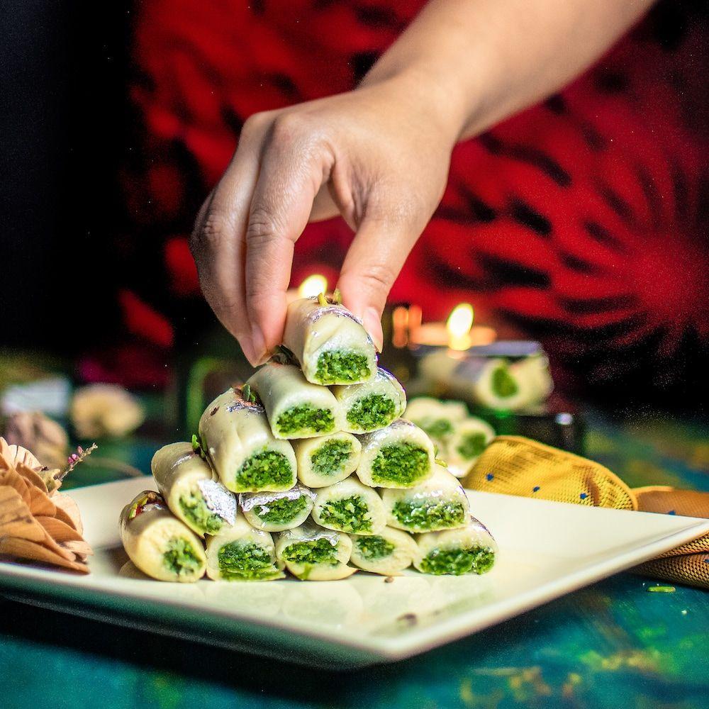 Kaju Pista Roll - Cashew Pistachio Fudge