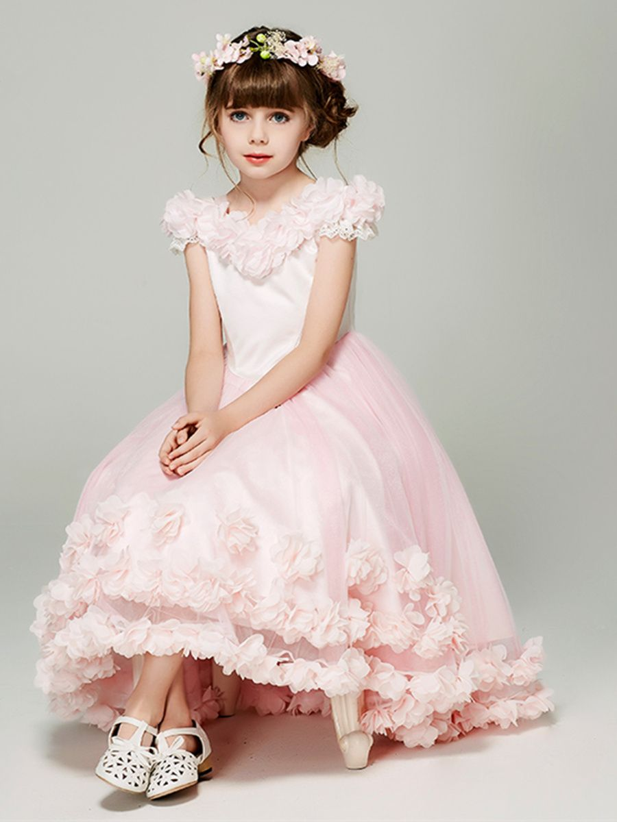 Cap sleeve flowers girls party dress in married in tbdress