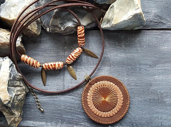statement necklace. leather necklace Boho mustard colored uniqe necklace for women
