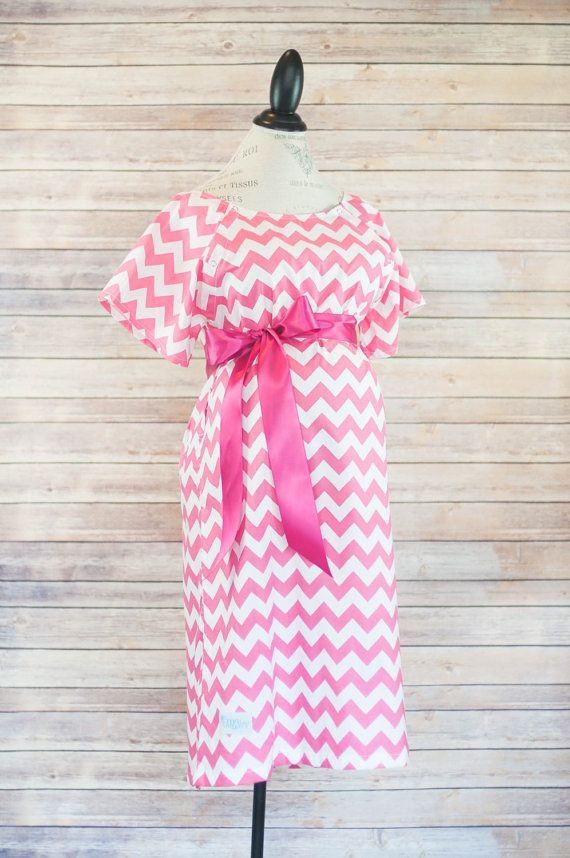 Pink Chevron Maternity Hospital Delivery Gown-Super Soft -Perfect ...