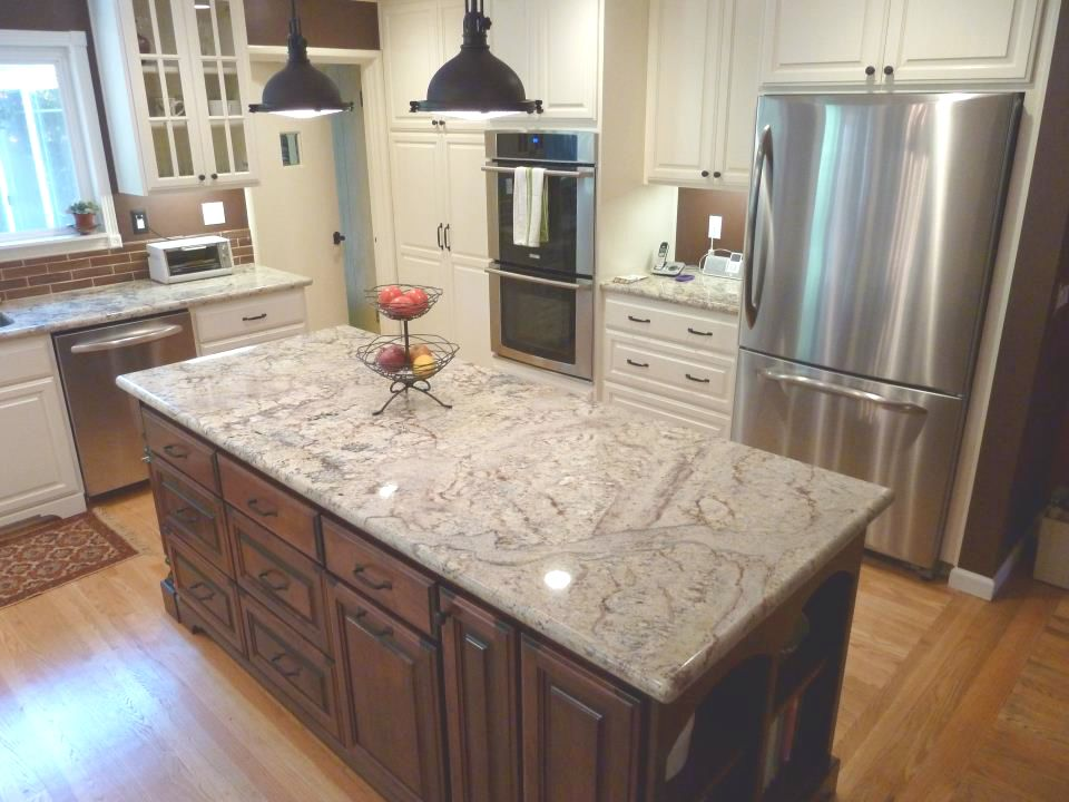 Classic Sienna Bordeaux Granite Countertop With Tile Backsplash - Granite kitchen and bath