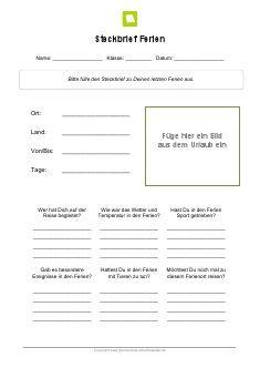 Arbeitsblatt: Steckbrief Ferien | Lehrhilfen, Arbeitsblätter | Pinterest