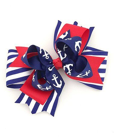 Another great find on #zulily! Red & Blue Stripe Anchor Bow Hair Clip #zulilyfinds