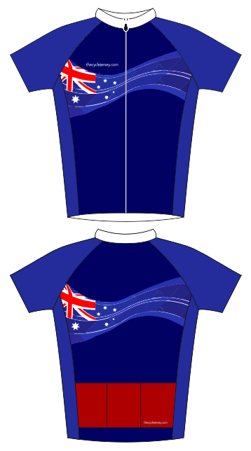 The newest addition to the country flag family here at The Cycle Jersey.  This Australian flag cycle jersey has a modern twist and eye-catching back  pocket. 3d4b5272e