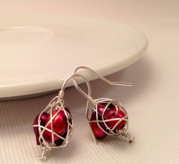 Wire Wrapped Earrings Burgundy Fresh Water by CraftedByJulieMarie