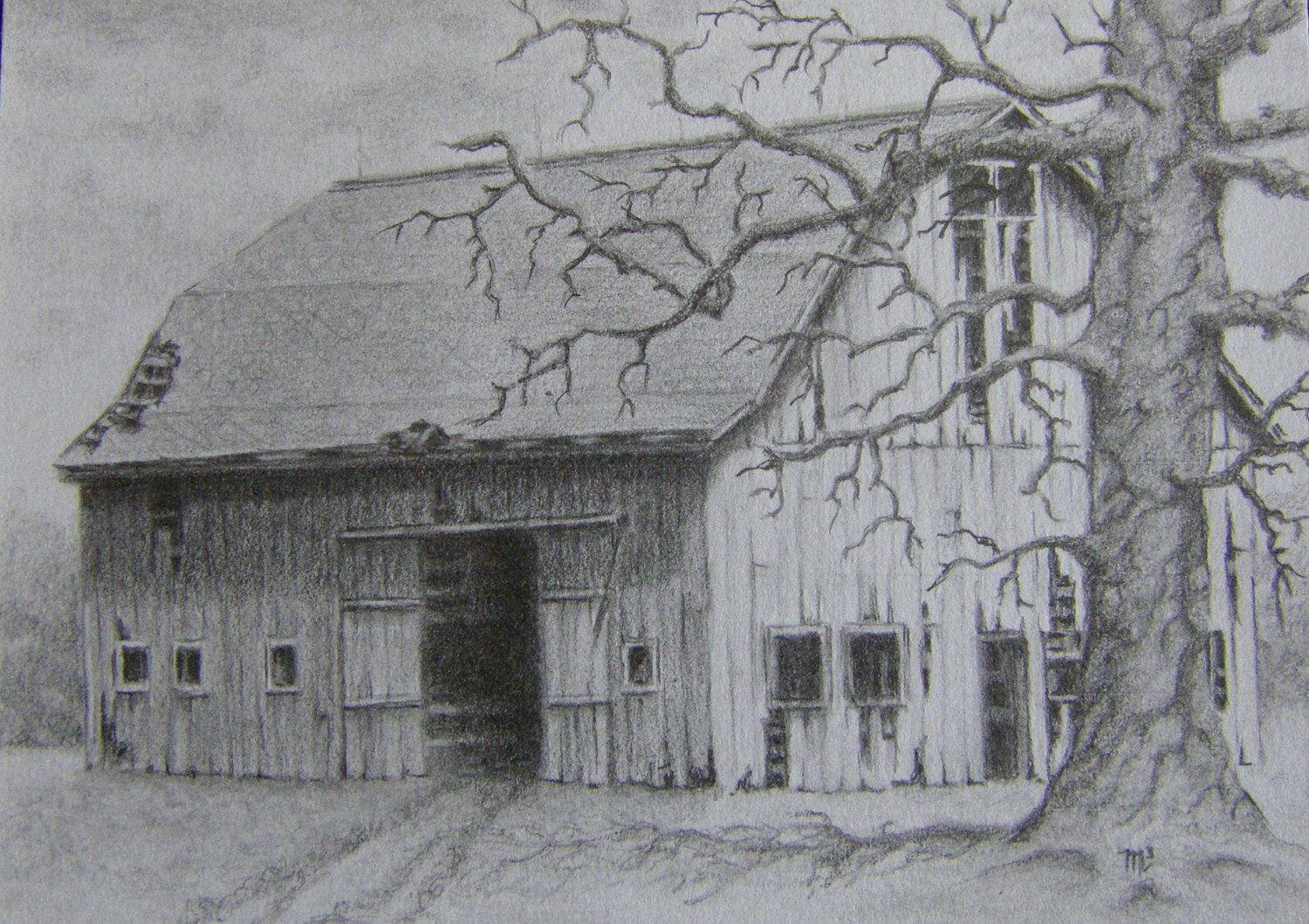 Barn pencil drawing gone but not forgotten rustic for Landscape pencil sketches simple