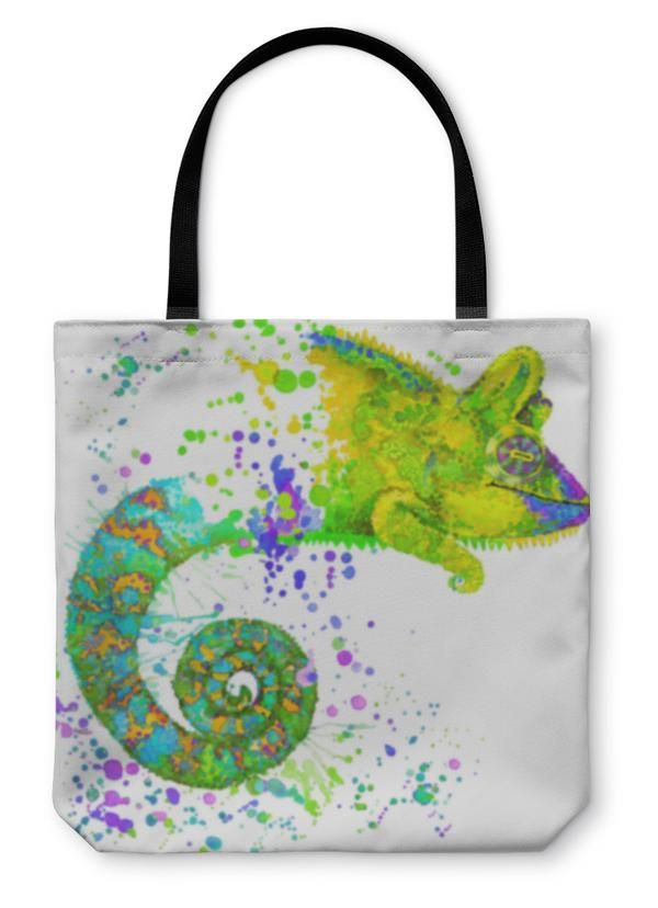 Tote Bag, Chameleon Illustr...
