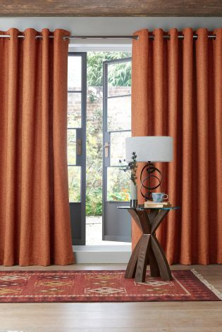 Orange Boucle Blend Eyelet Curtains Burnt Orange Living Room Decor Living Room Decor Curtains Orange Curtains Living Room