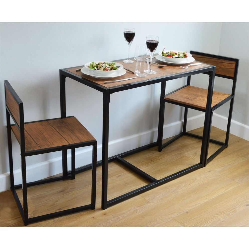 Industrial Dining Table Set 2 Chairs Space Saving Wood Rustic