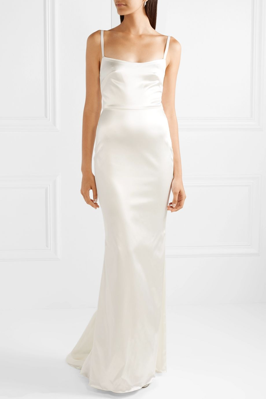 Ivory Dion stretch-duchesse satin gown | Halfpenny London