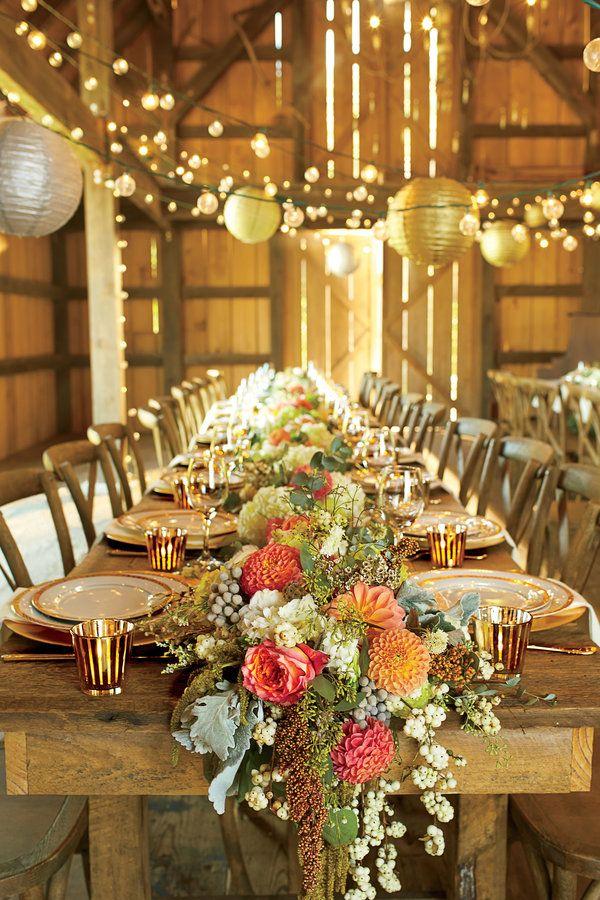 The Southern Living Barn Bash Barn Wedding Reception Tables Wedding Reception Table Decorations Wedding Table Settings