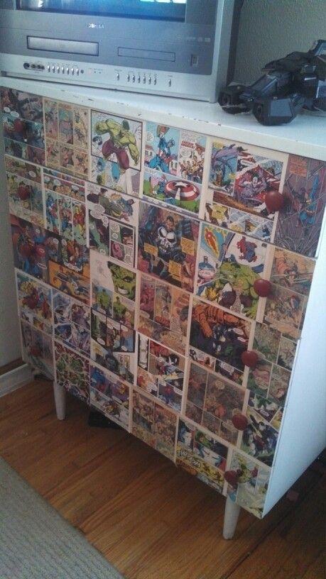 The boys superhero dresser I made :) Modge Podge, Boys Bedroom ...