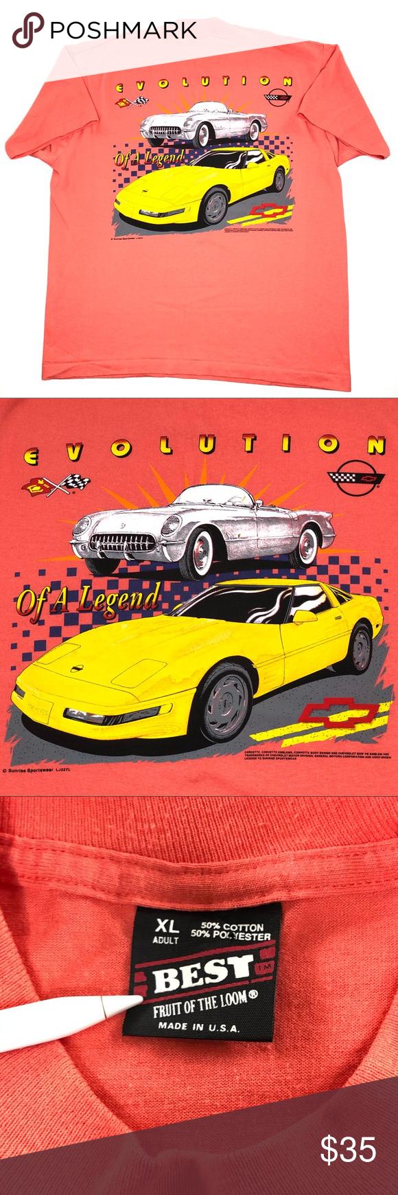 Vintage Chevy Corvette Racing T Shirt Size XL Vintage
