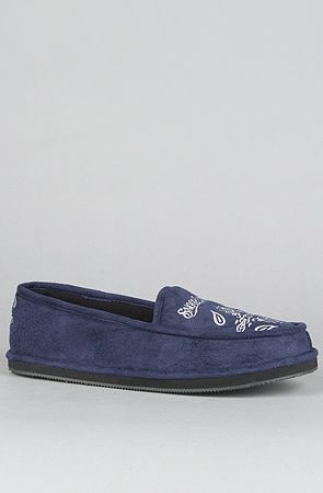 The Snoop Velvet House Shoes In Navy Exclusive By Snooper Market