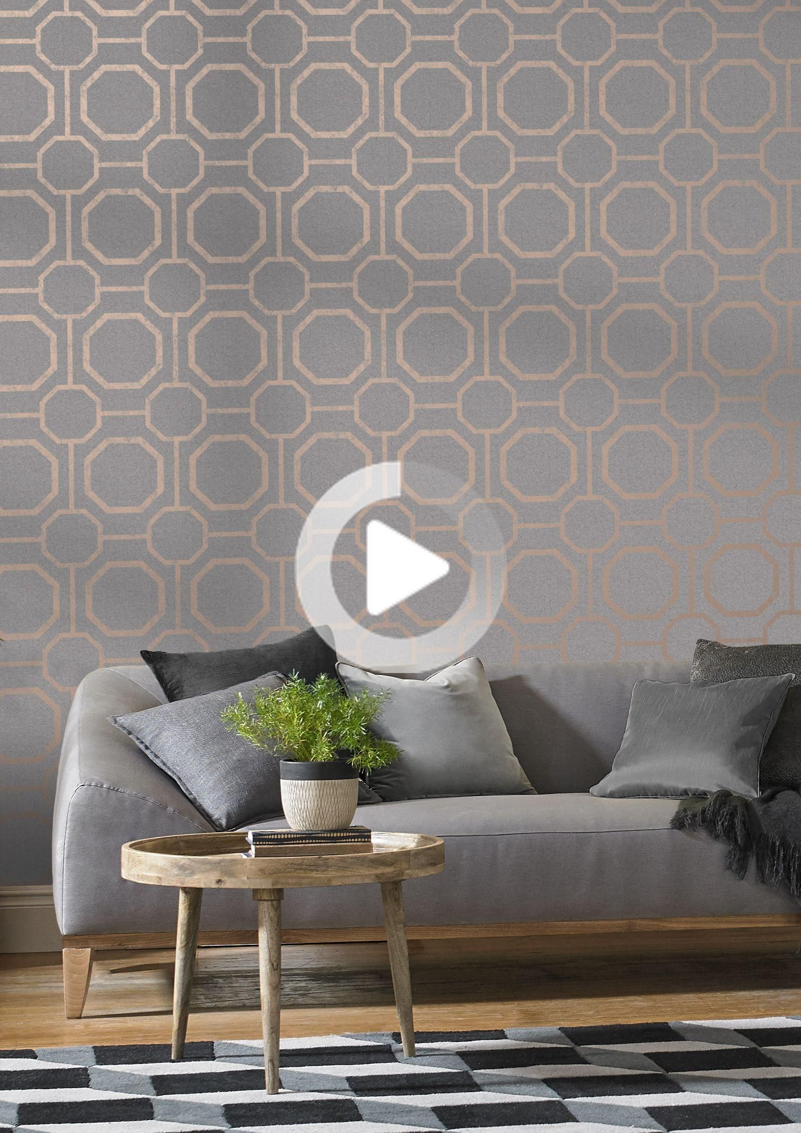 Marrying An Earthy Textured Grey Backdrop With Rose Gold Metallic Geometric Detailing Creates The Rose Gold Wallpaper Decor Gold Wallpaper