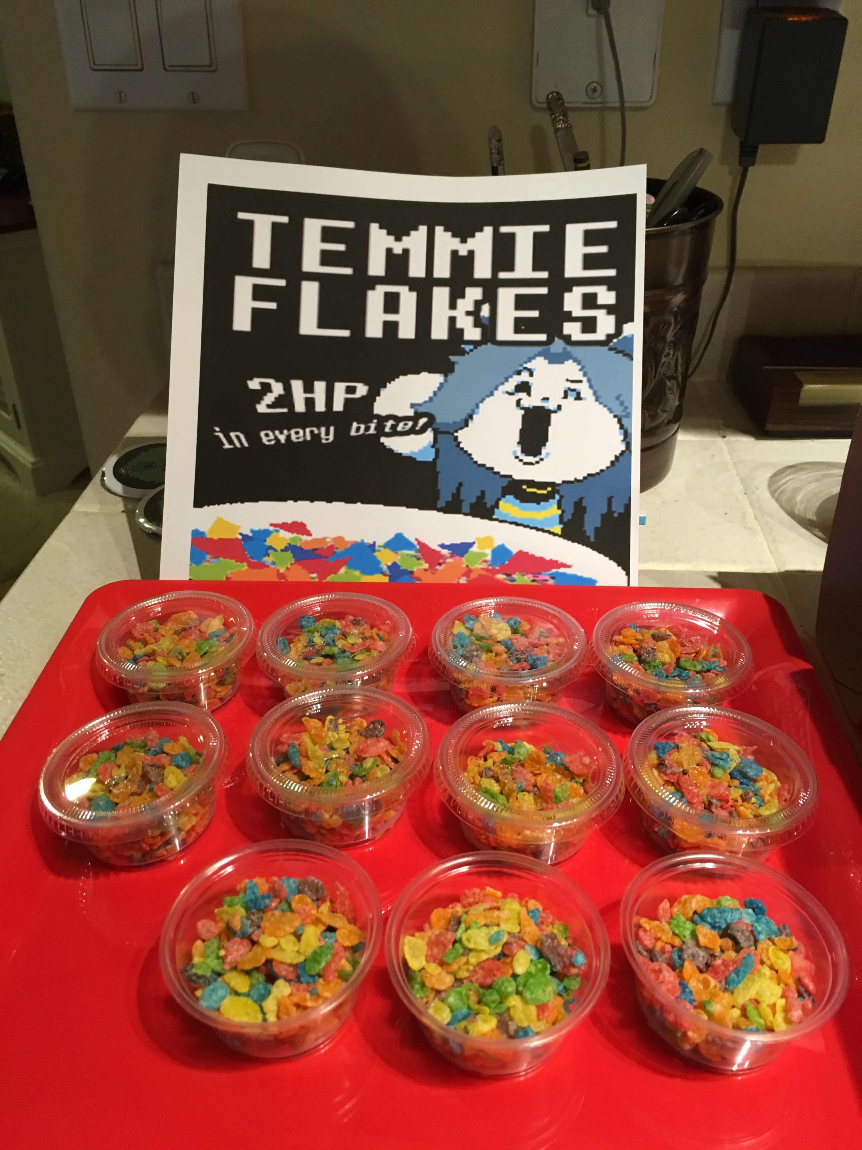 Temmie Flakes (Fruity Pebbles in small little dressing containers ...