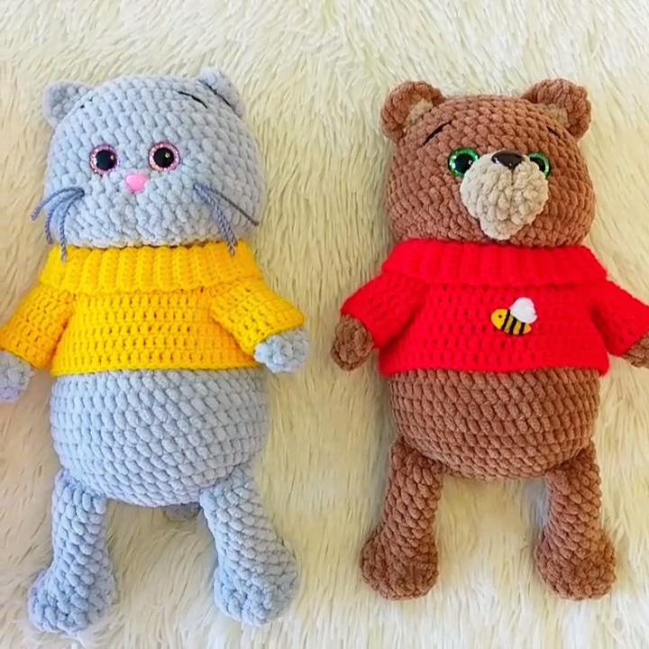 Photo of CROCHET PATTERNS: Bear, Bunny, Cat & Pig, Amigurumi crochet pattern, Stuff animal pattern