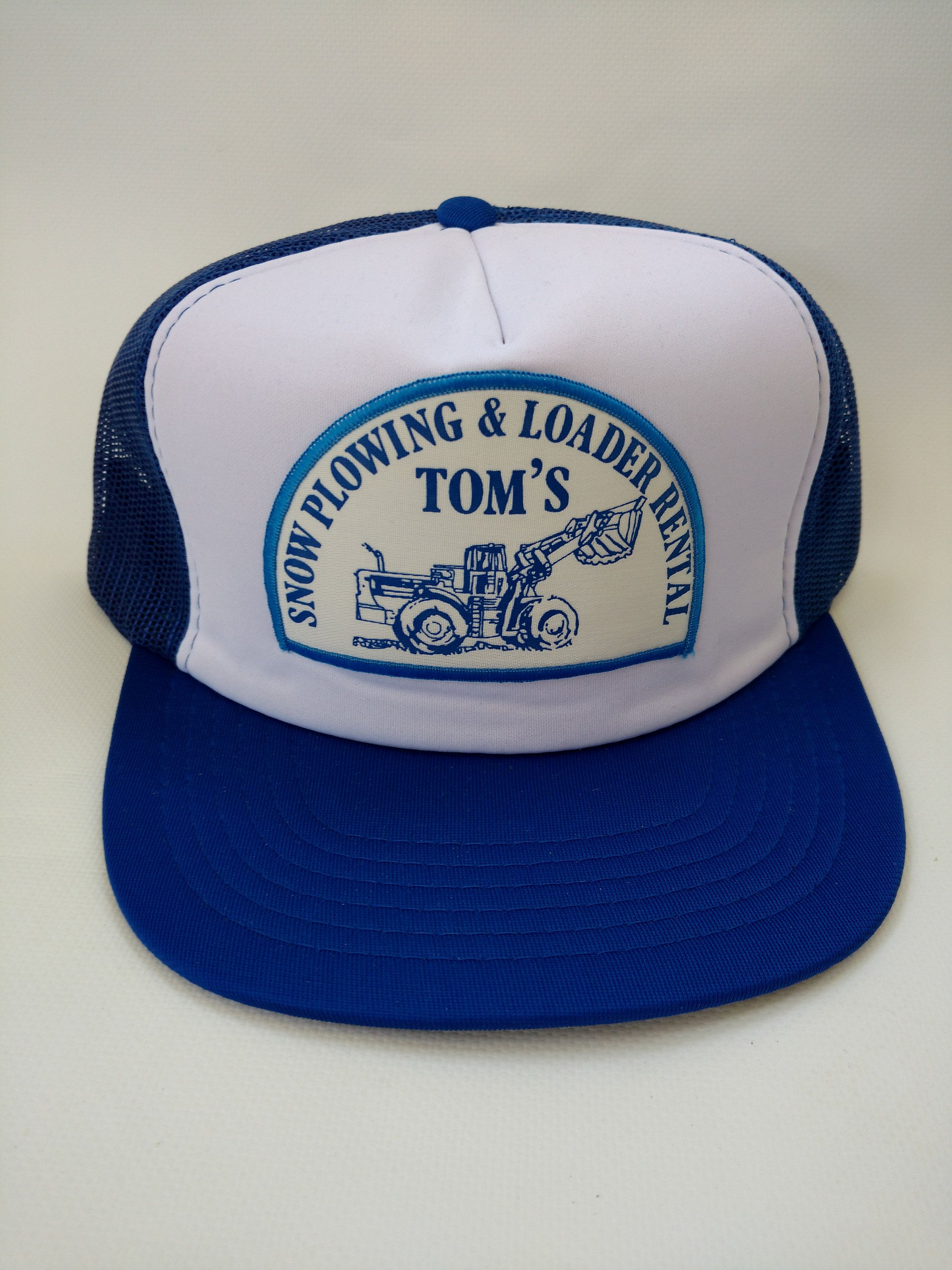34a0be86daf Trucker Hat Tom s Snow Plowing and Loader Rental Blue Retro Vintage  Snapback Mesh Cap 1980s by
