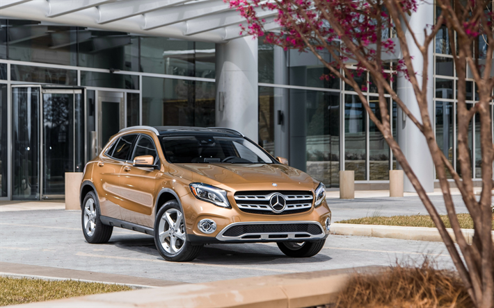 Download Wallpapers Mercedes Benz Gla Class 2018 4matic Gla250 Front View New Brown Gla Exterior Compact Crossovers Mercedes Besthqwallpapers Com Mercedes Benz Gla Mercedes Benz Mercedes