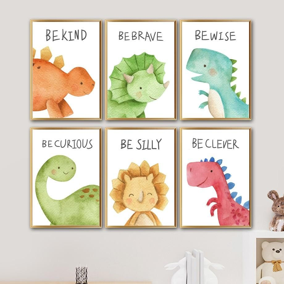 Who doesn't want cute motivational canvas painting in their kids room? These Dinosaurs canvas painting are perfect for your kids bedroom. They come in two different sizes that help inspire your kid's dream. This doesn't come with wall frame. This is only the canvas painting. Please refer to picture for sizing of canvas.