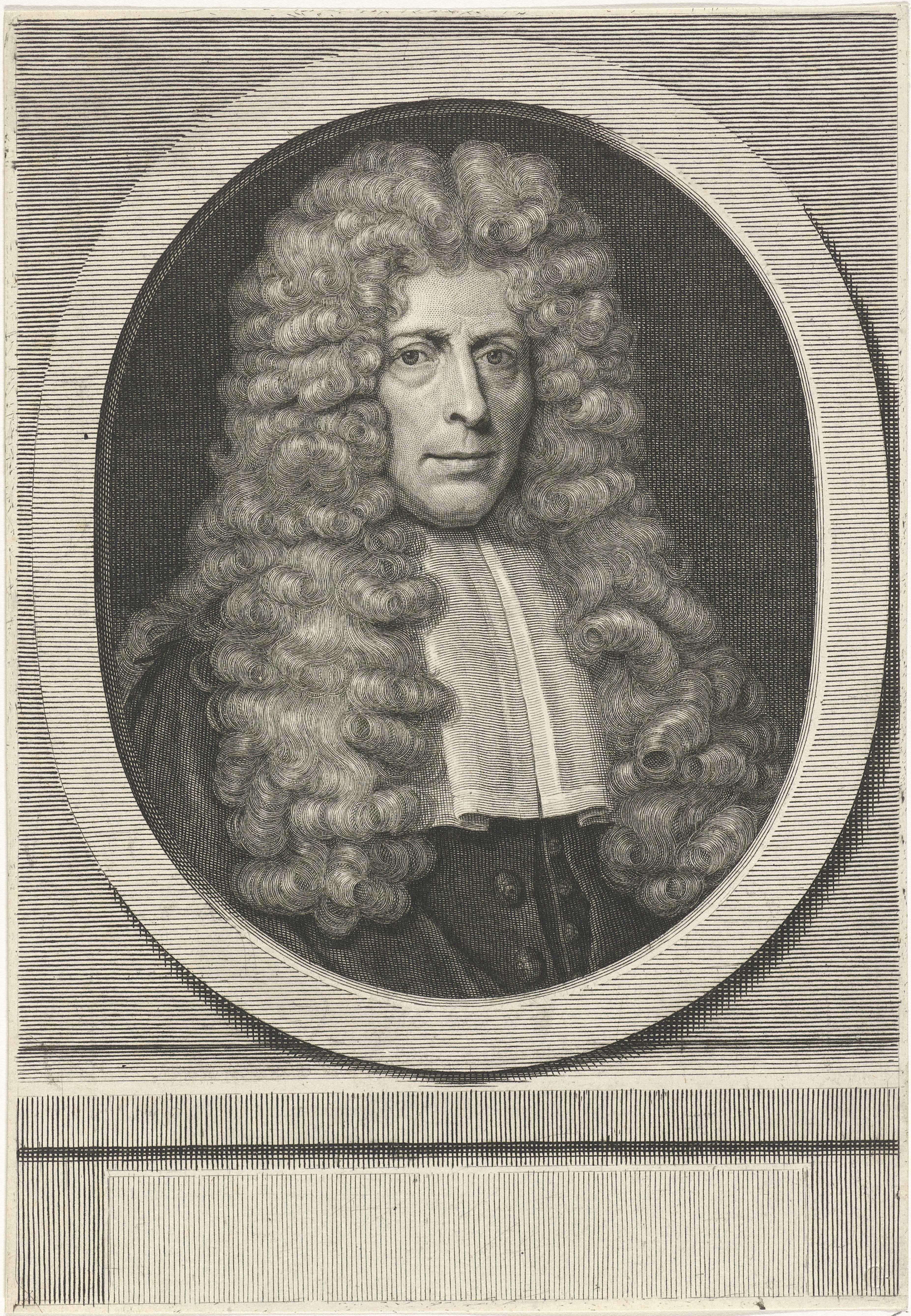 Pieter van Gunst | Portret van Dirk Schelte, Pieter van Gunst, 1713 | Dirk Schelte, Amsterdamse juwelier, diaken en burleske dichter.