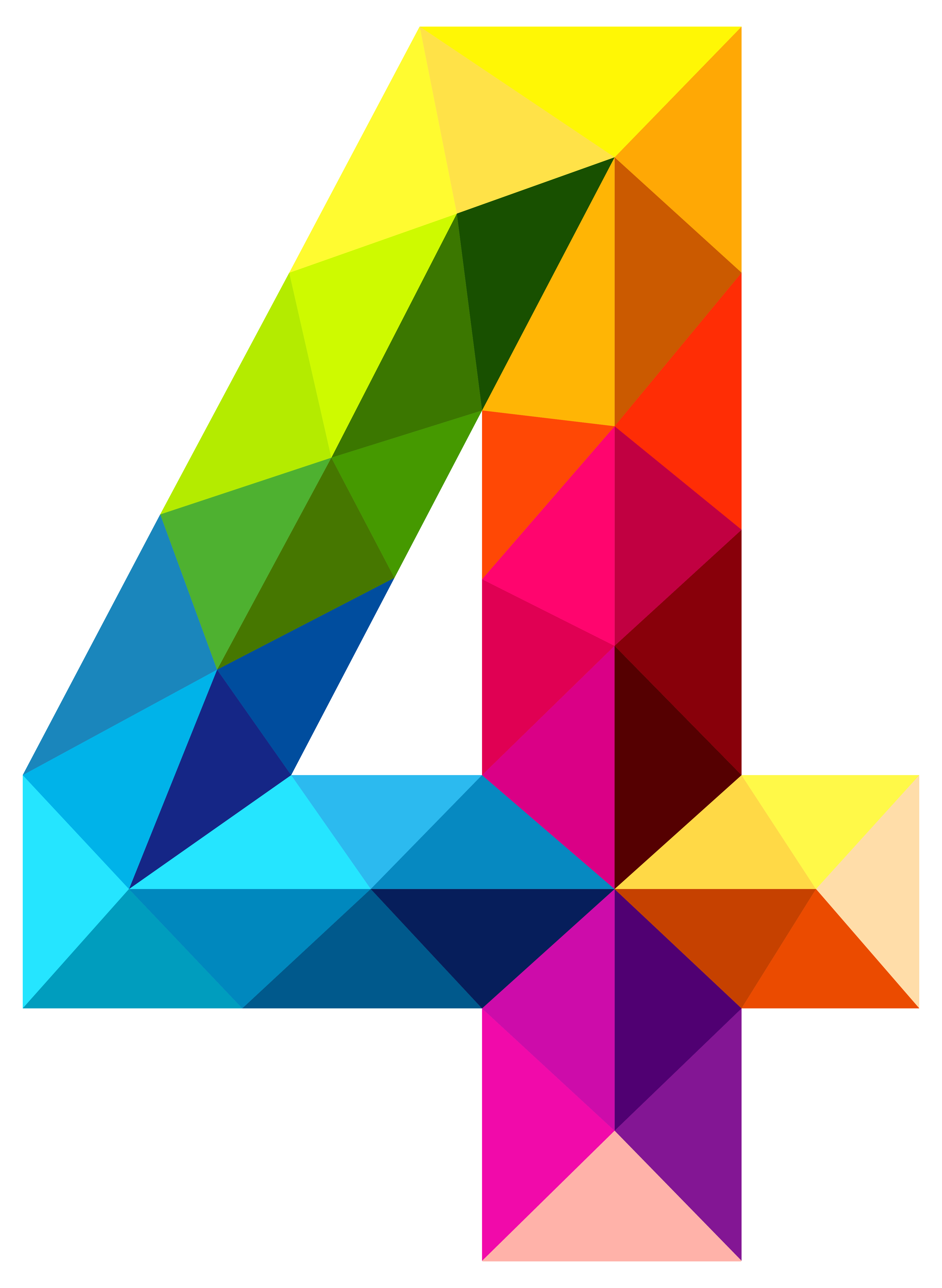 Colourful Triangles Number Four Png Clipart Image Gallery Yopriceville High Quality Images And Transpare Shablony Trafaretov Shablony Pechati Detskie Kartiny