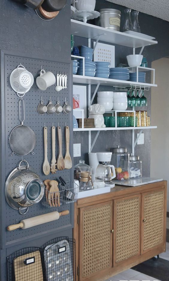 Dark Grey Wall Storage With Utensils And Cooking Stuff In