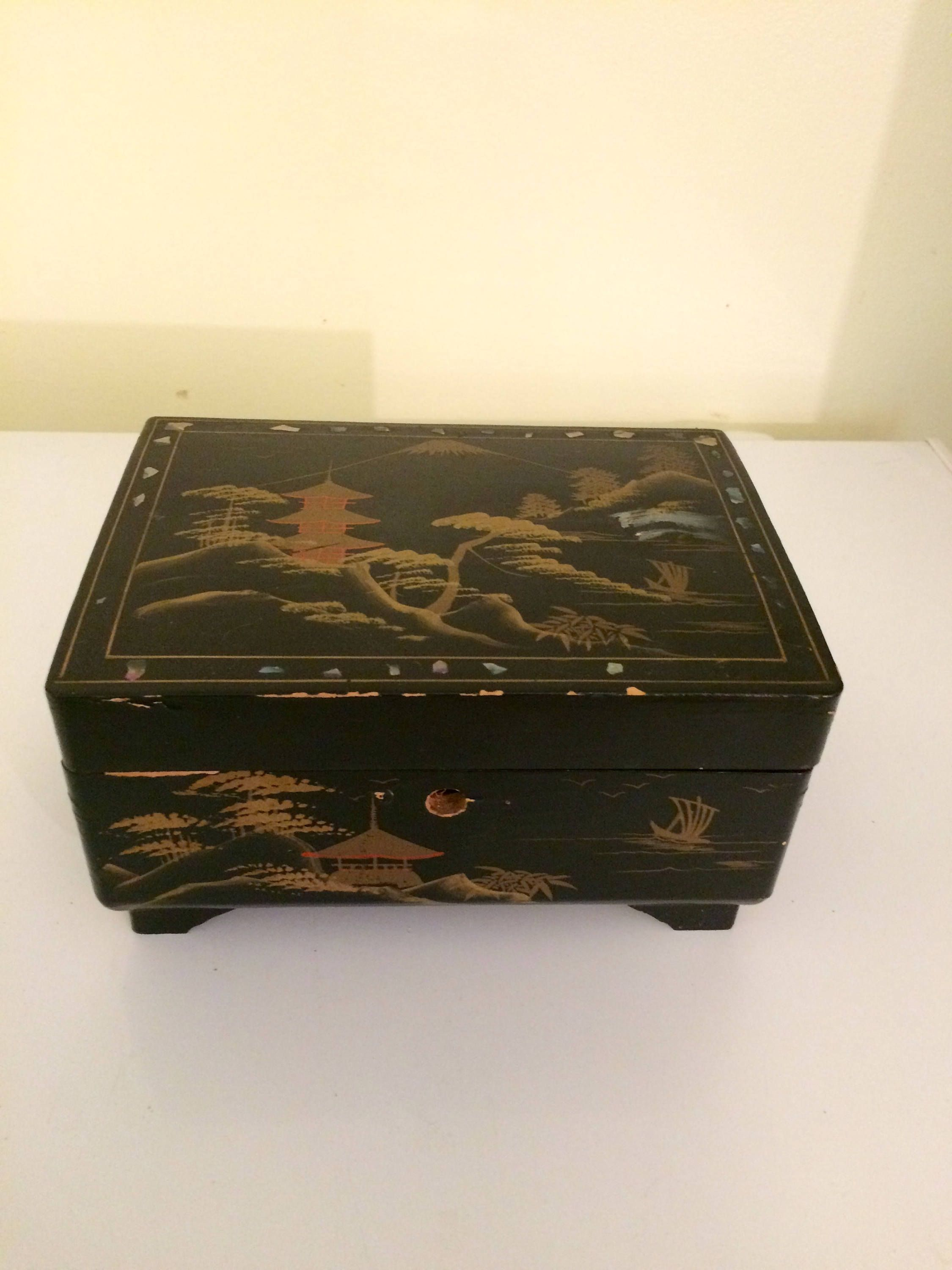 Vintage Asian Lacquer Jewelry Box Music Black Holder