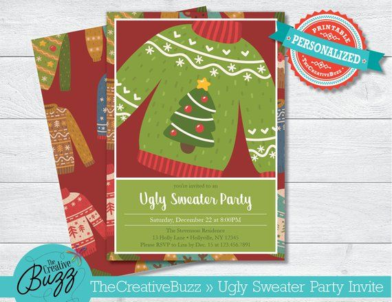 Holiday Christmas Ugly Sweater Party Invitation Envelopes Included