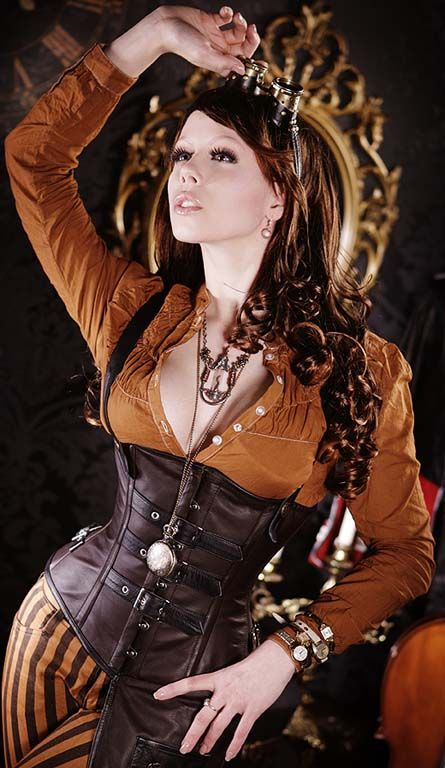 One of DraculaClothing corset designs, the Aviator Steampunk Corset  Model is Ophelia Overdose and photographer Marco Ribbe .