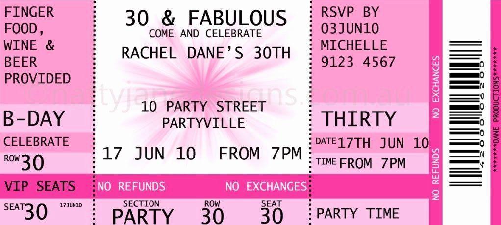 Birthday Ticket Invitation Template Free Inspirational Concert Ticket Invitation Ticket Invitation Birthday Party Invite Template Ticket Party Invitations