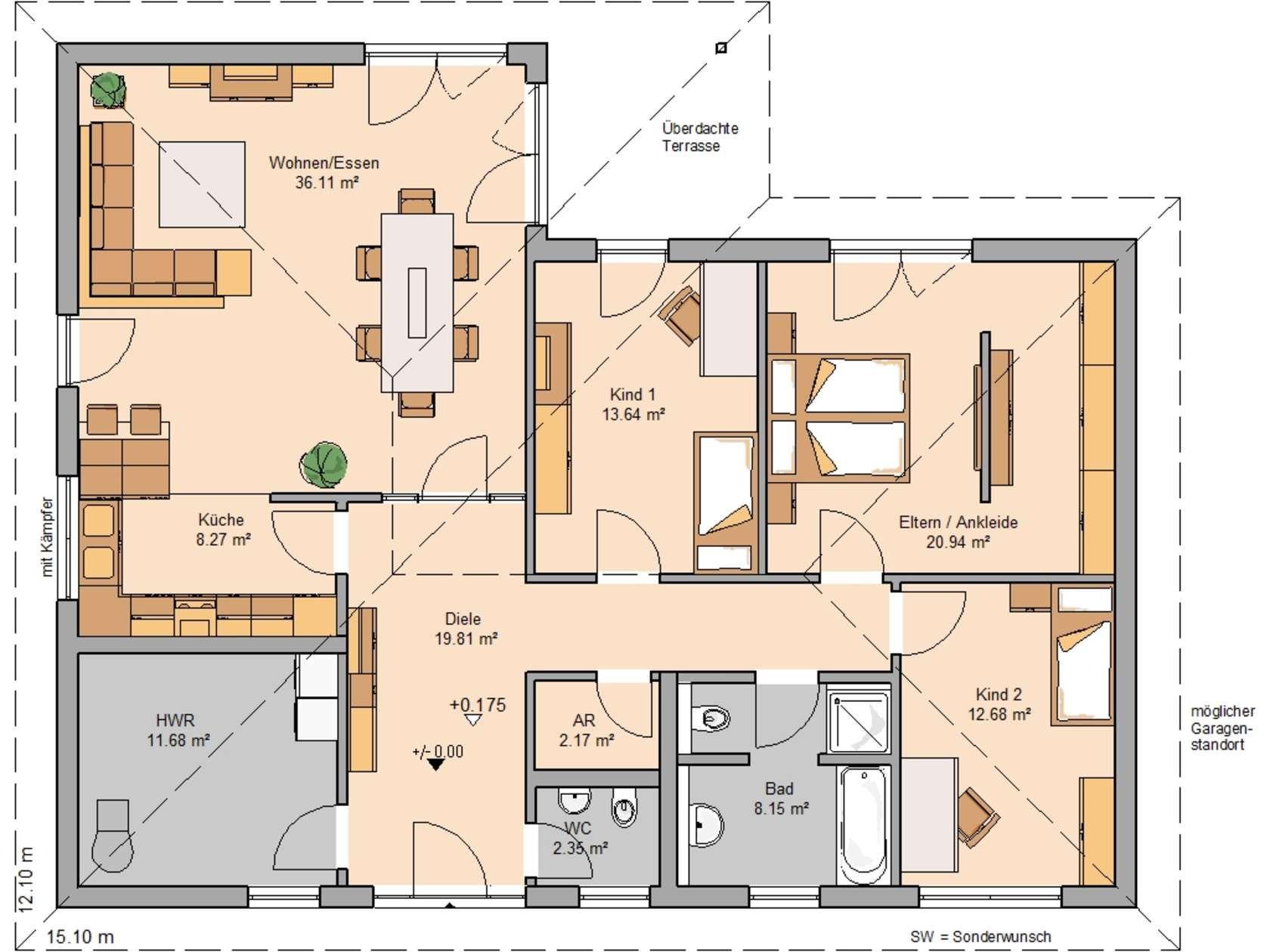 Kern haus bungalow balance grundriss erdgeschoss for Bungalow grundrisse