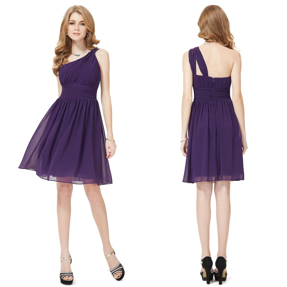 Lovely Ladies Short One Shoulder Purple Cocktail Party Bridesmaid ...