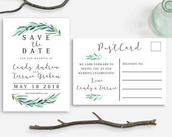 save the date postcard printable save the date eucalyptus leaves