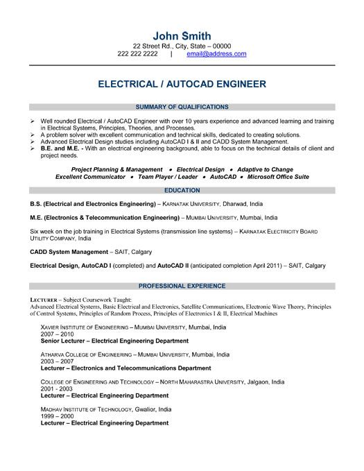 Electrical Engineer Resume Template -    wwwresumecareerinfo - sample resume for lecturer