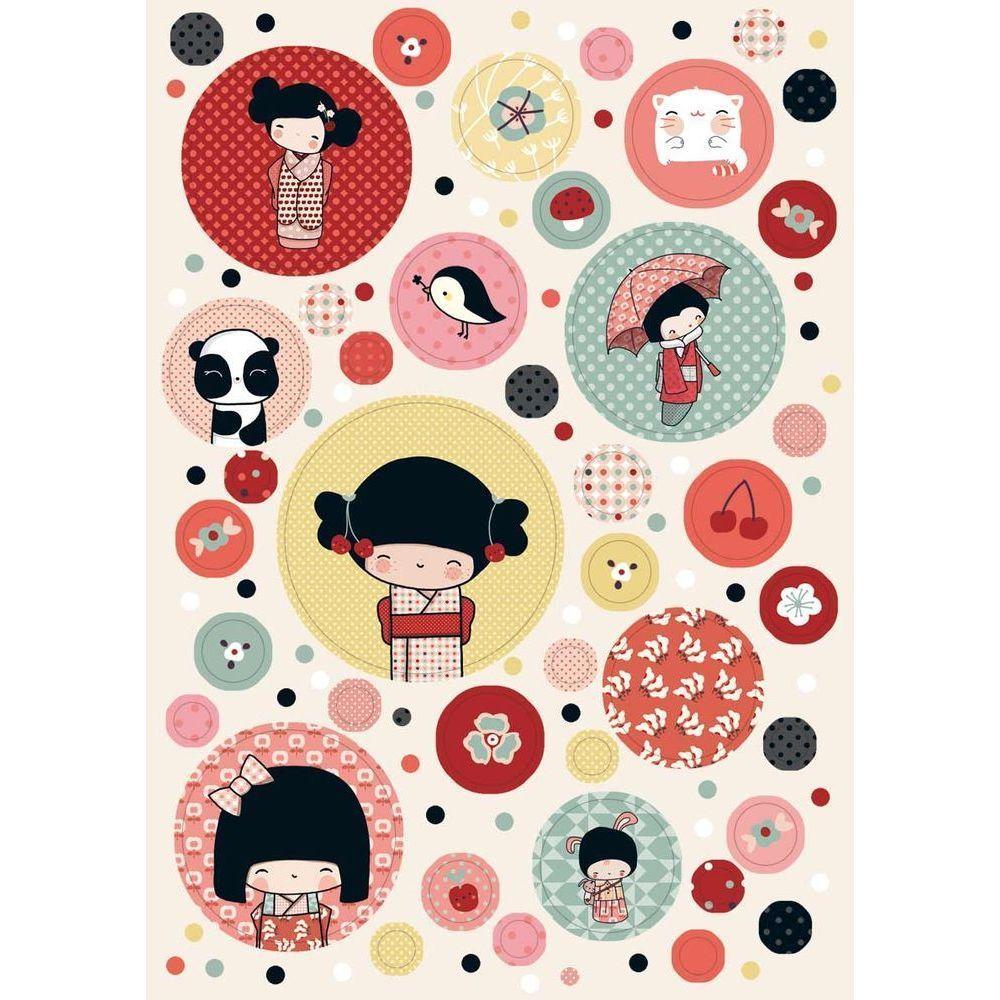 Sticker mural d coratif pour chambre d 39 enfant kokeshi for Stickers kokeshi