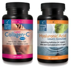 Two bottles of NeoCell Healthy Skin Supplements