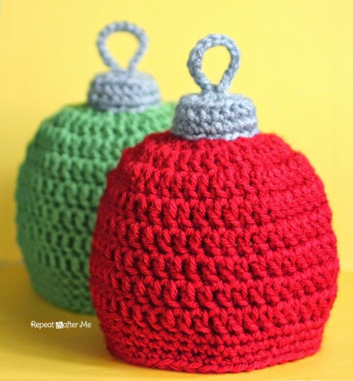 Crochet Christmas Ornament Hat Pattern Crochet Christmas Ornaments