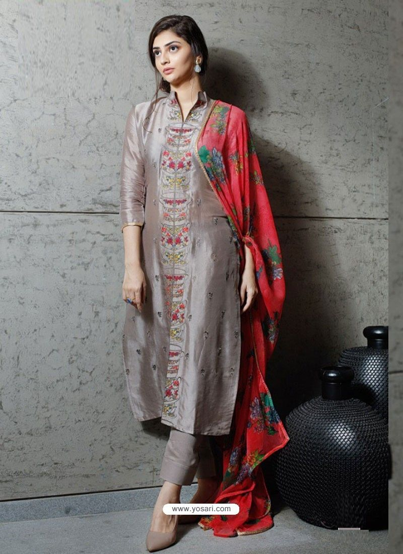 d5054741e3 Dull Grey Pure Silk Designer Embroidered Straight Suit in 2019 ...