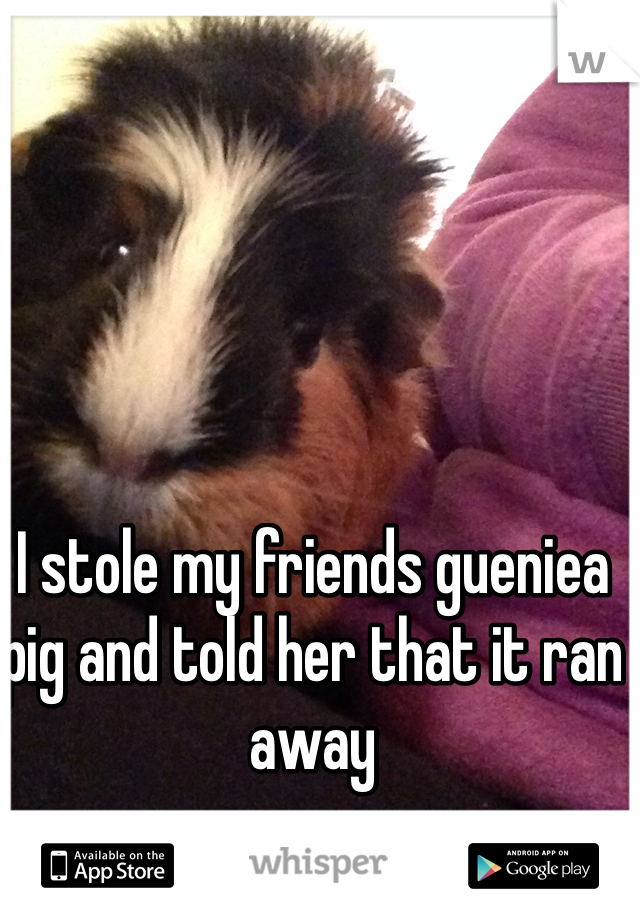 I stole my friends gueniea pig and told her that it ran