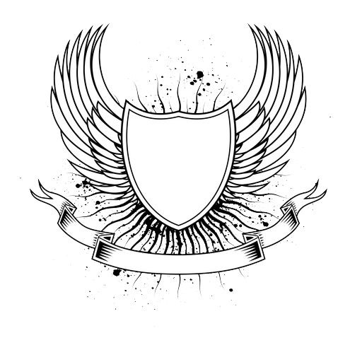 Poetra Satria Google Keamanan Shield Tattoo Wings Logo Graphic Design Logo