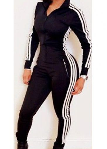 9caf425c2b9 Buy at  www.lilypadclothing.com. 15% off this Black track suit jumpsuit  with side pocket zippers. Color fast polyester material