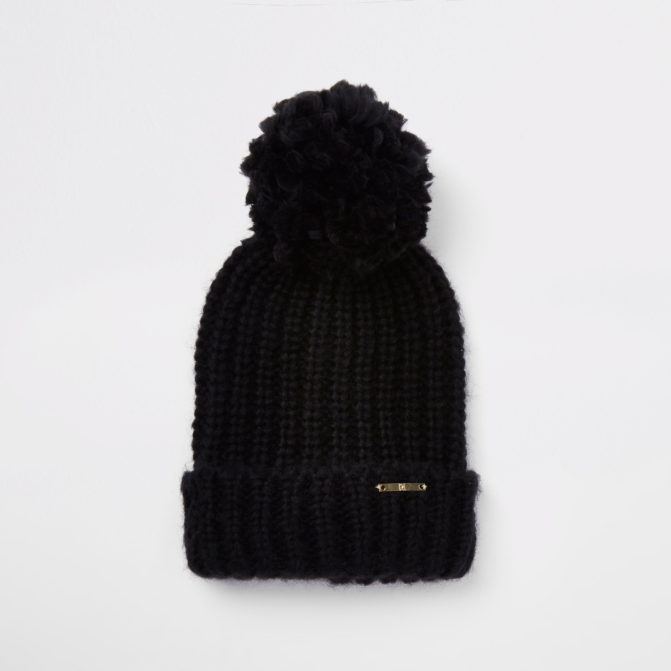 c5683832950 Black pom pom bobble top knit beanie hat in 2019