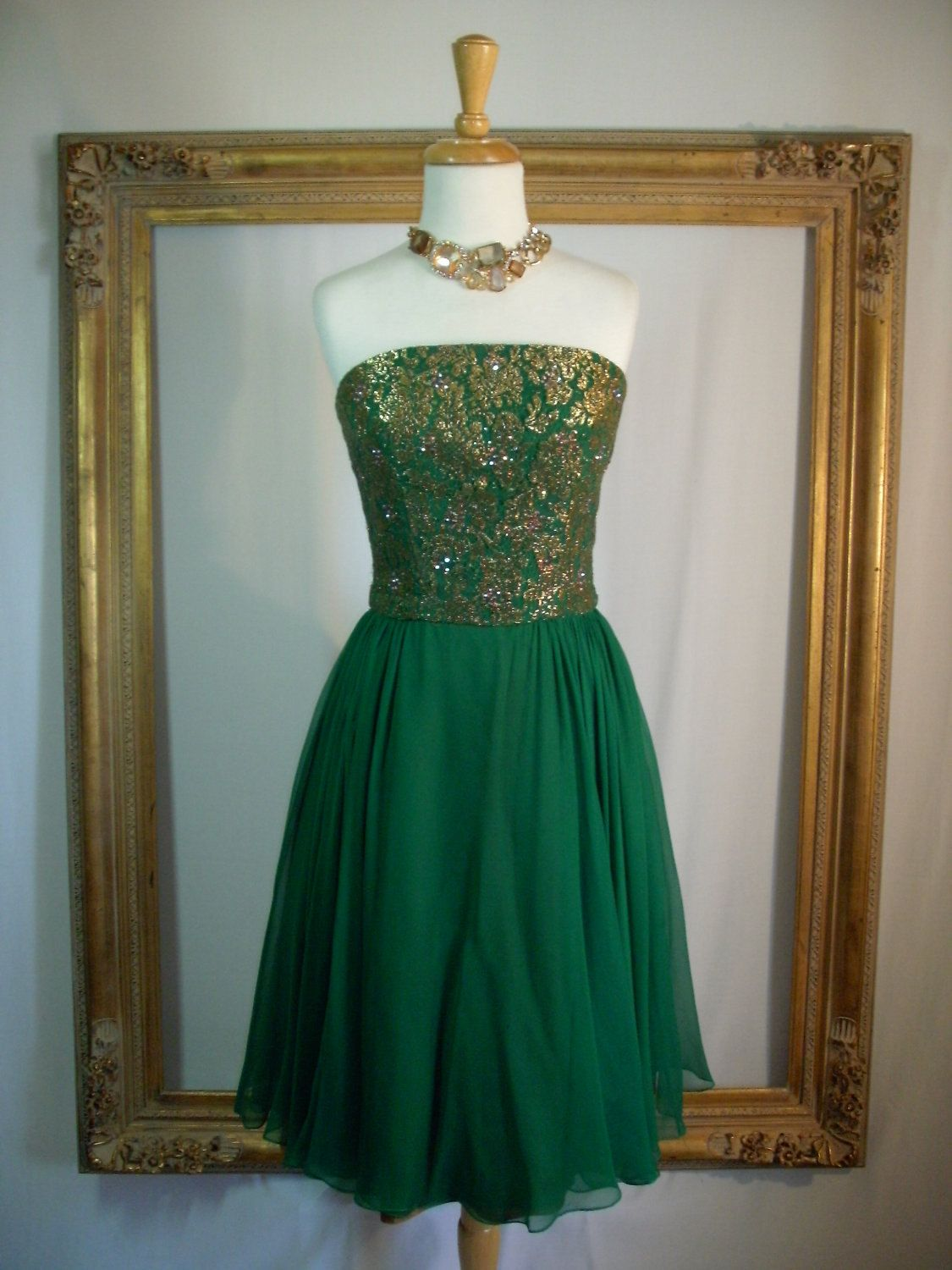 vintage 1960u002639s strapless emerald green chiffon by