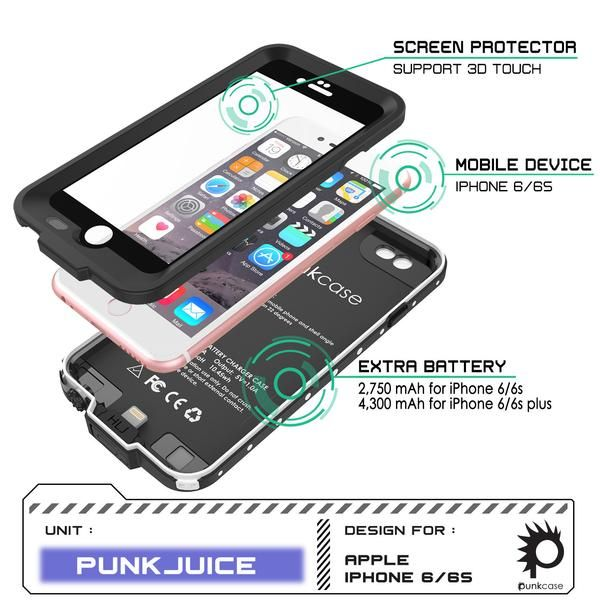 PunkJuice iPhone 6+ Plus/6s+ PLus Battery Case Black - Waterproof Slim Portable Power Juice Bank with 4300mAh High Capacity - Fastcharging - 120% Extra Battery Life - 3 Year EXCHANGE WARRANTY ★ PUNKJUICE YOUR iPHONE 6+/6s+ Plus: Never again get punked by a dead battery! Waterproof, dirt proof, drop proof and snow proof plus a SLIM & SLEEK DESIGN that perfectly follows iPhone's precision lines make Punkjuice THE ULTIMATE POWER CASE. ★ 4300 mAh HIGH CAPACITY BATTERY: Spend more time camping in…