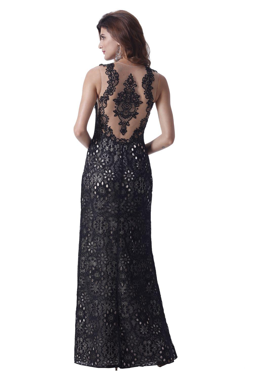 spitzenkleid mit rückentattoo schwarz venus | mode bösckens