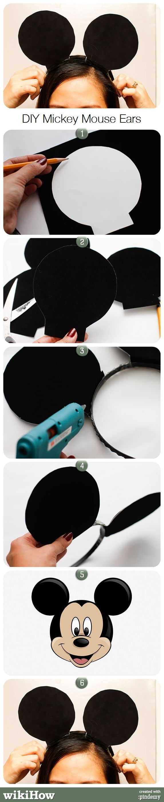 make mickey mouse ears wikihow for kids pinterest kost m haarreifen und fasching. Black Bedroom Furniture Sets. Home Design Ideas
