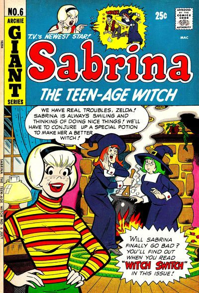 """Comic writer George Gladir died 3 Apr 13. He wrote gags for """"Archie"""" comics, including the one introducing """"Sabrina the Teen-Age Witch."""" The character predated Samantha the housewife witch in """"Bewitched."""" George's other credits include """"Cracked Magazine."""" This issue doesn't have Gladir material, but stories include one about a """"witch watch"""" and one where Sabrina and her friends are """"meddling kids"""" in a Scooby-style mystery."""