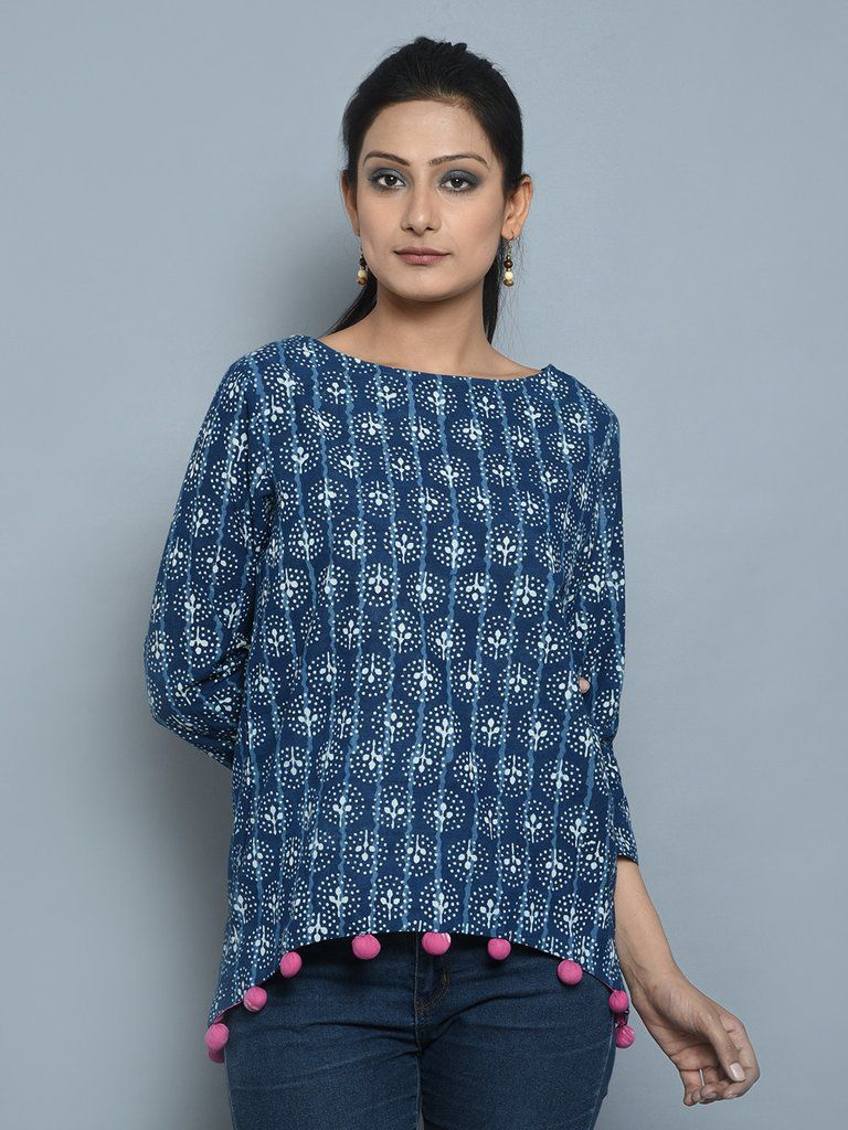 e54c8493839365 Blue Cotton Cambric Short Top | fashion | Short kurti designs, Kurti ...