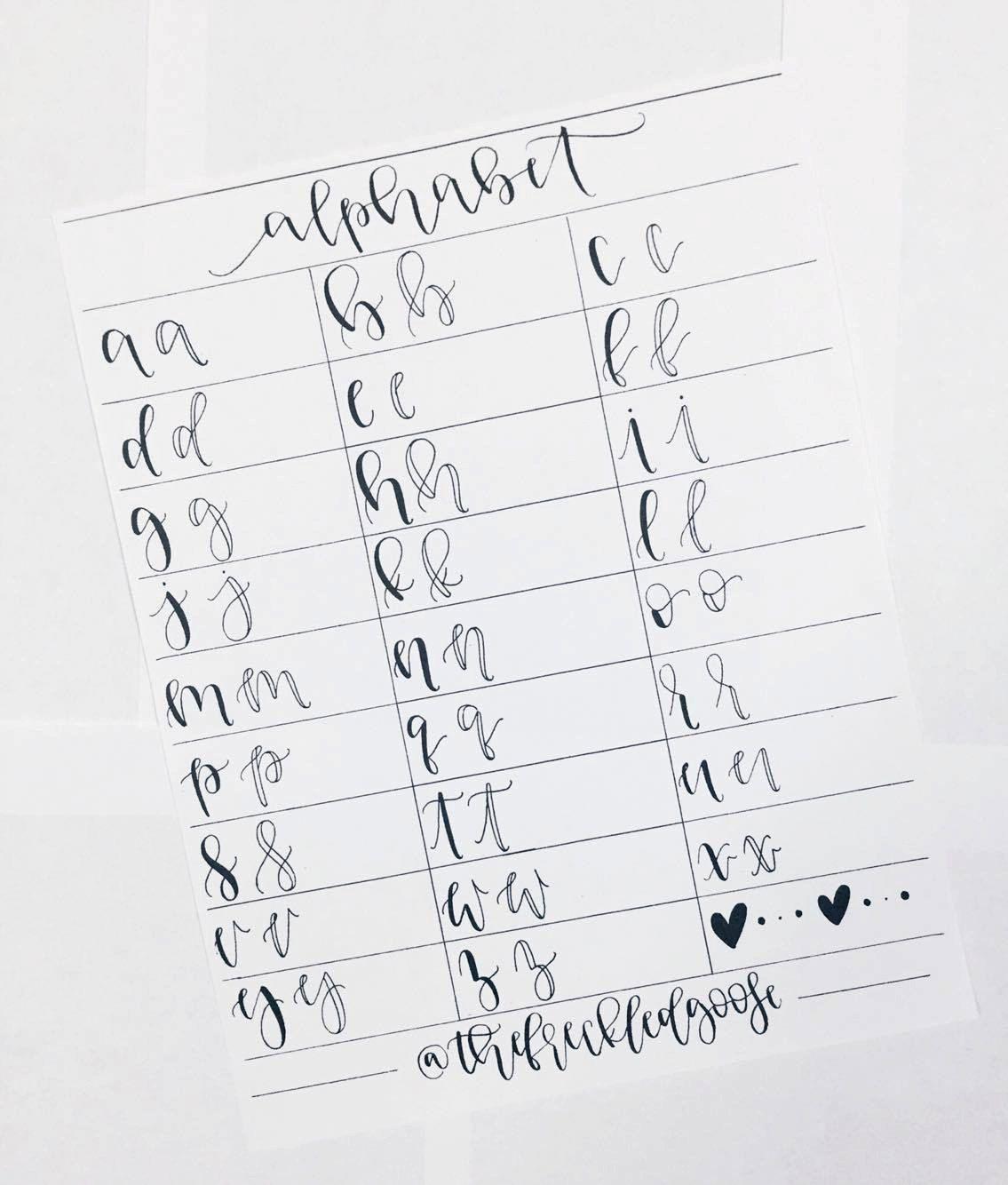 a - z Hand Lettering Worksheet, Brush Calligraphy, Brush Lettering ...